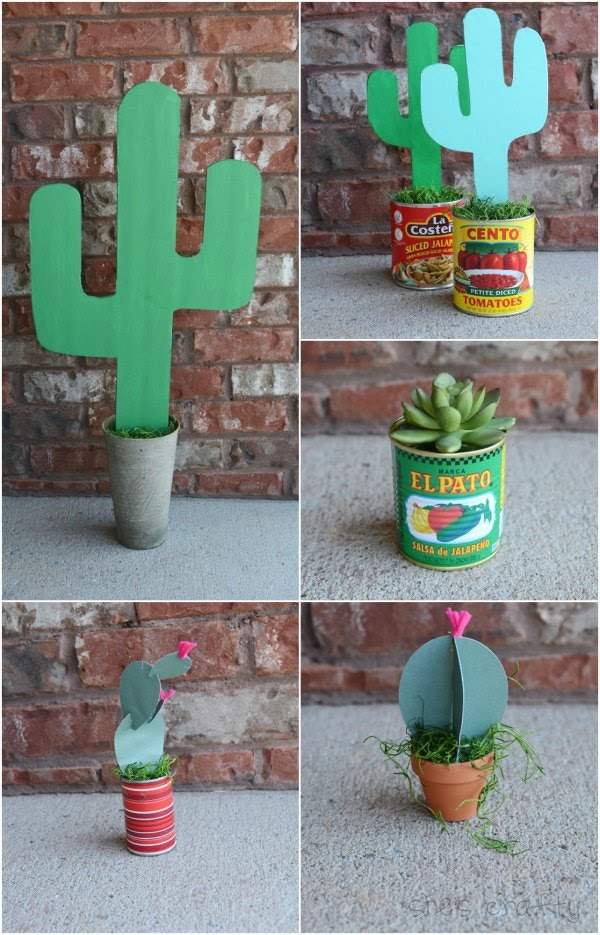 Taco Bar Relief Society Party Idea - Taco 'Bout Fun meet and greet party - table decor  - how to make paper cacti
