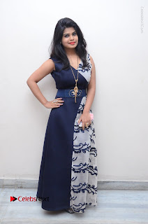 Telugu Actress Alekhya Stills in Blue Long Dress at Plus One ( 1) Audio Launch  0137.jpg