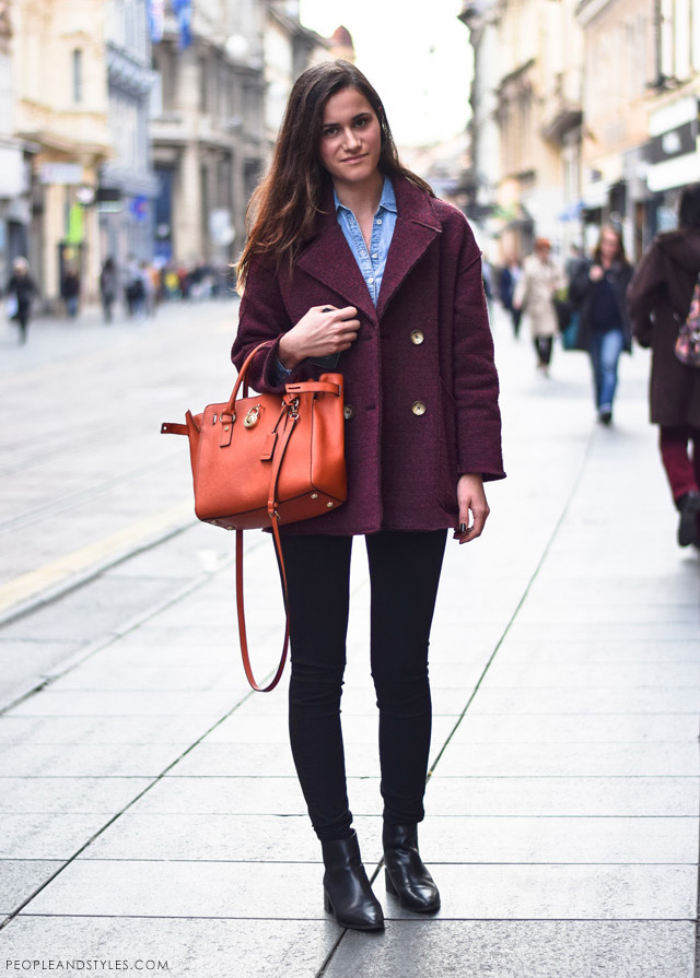 Ivana Jerković, latest street winter 2014 fashion, how to wear a denim shirt in winter