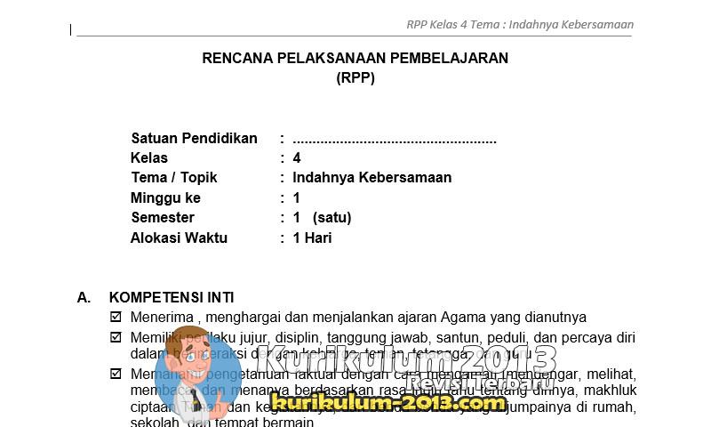 Contoh RPP K13 Kelas 4 dan Silabus Berkarakter Semester 1 dan 2