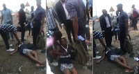PREGNANT WOMAN SLUMPS AFTER BEING SLAPPED BY AN OFFICER IN LAGOS