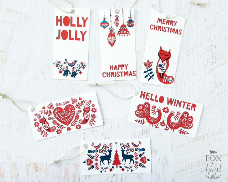 Scandinavian Folk Art Gift Tags