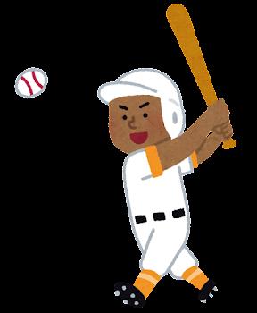 野球選手のイラスト(男性・黒人)