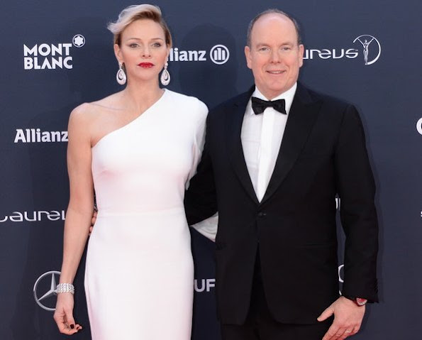 Princess Charlene attend award ceremony of 2018 Laureus World Sports at Sporting Club in Monaco. Princess wears Stella McCartney dress
