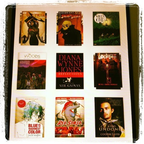 An assortment of nine digital books arrayed on a digital shelf. They're listed below.