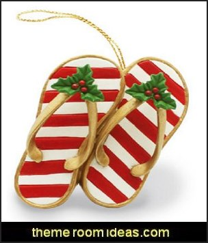 Island Heritage Festive Slippers Ornament   Coastal Christmas decorating theme - coastal Christmas decor - beach christmas  - Beach Christmas Decorations  - seaside decor - coastal ornaments - beach themed Christmas decorations - beach themed christmas tree -  sea themed ornaments -  nautical accents - beach themed ornaments - coastal Christmas tree skirts - beach & seaside decorations