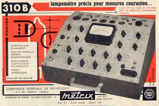 METRIX LAMPEMETRE 310 CONTROLE TUBE ELETRONIQUE