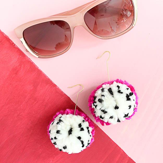 Make It – Dragon Fruit Pom Pom Earrings