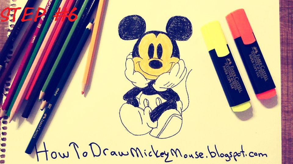 how to draw mickey mouse face step by step