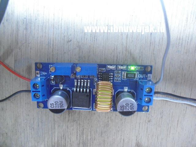 modul charger xl4015 cc cv 5A dc buck step down converter ledhijau