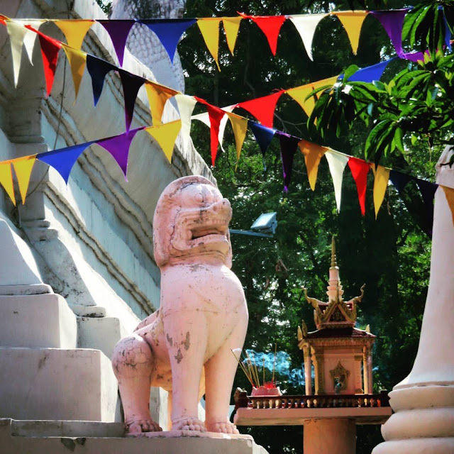 Lion statue at Wat Phnom in Phnom Penh Cambodia