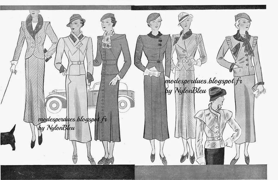9642f3844b9 Croquis de mode pour présenter les patrons de robes édités par les éditions  Modes et Travaux. Modes et Travaux de septembre 1933