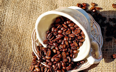 coffee beans in cup widescreen hd wallpaper