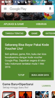 Sekarang, Beli Aplikasi atau Games Berbayar di Google Play Store Bisa dengan Voucher Indomaret