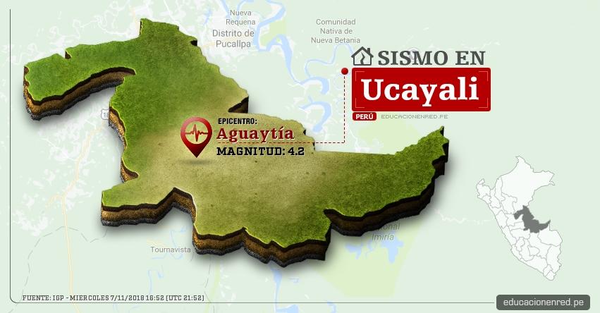Temblor en Ucayali de magnitud 4.2 (Hoy Miércoles 7 Noviembre 2018) Sismo EPICENTRO Aguaytía - Padre Abad - IGP - www.igp.gob.pe