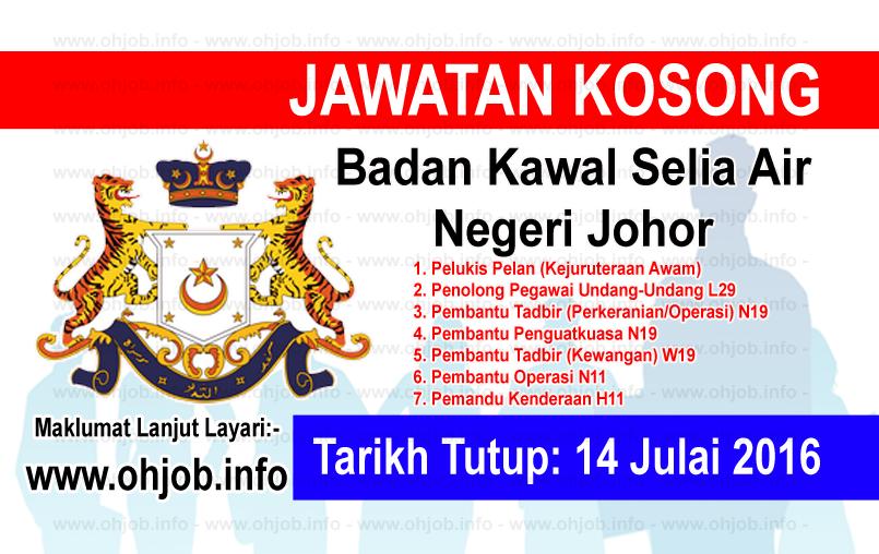 Jawatan Kerja Kosong Badan Kawal Selia Air Negeri Johor logo www.ohjob.info julai 2016