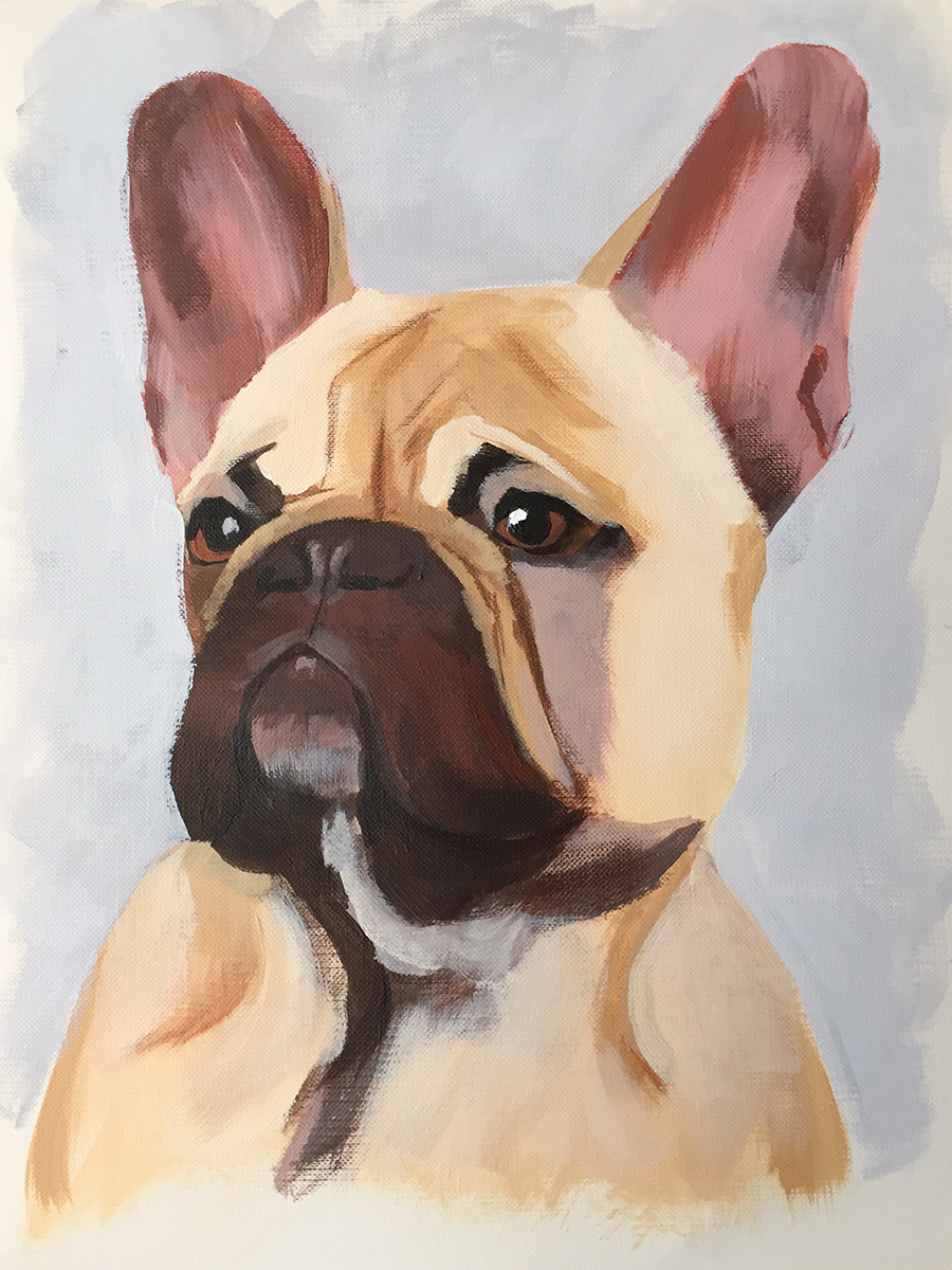 zorn palette study of french bulldog