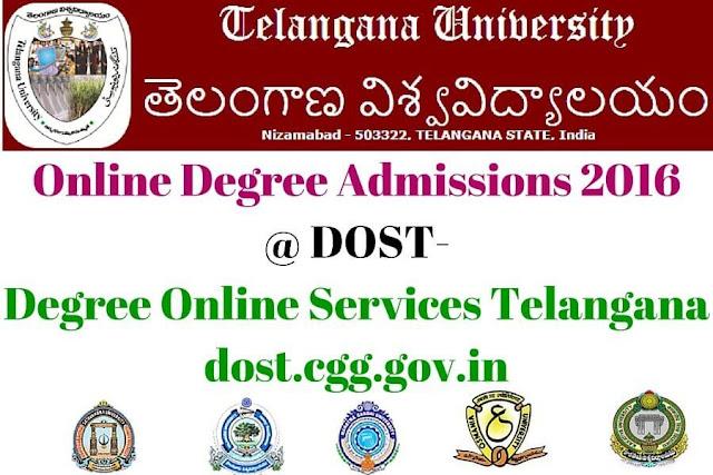 Telangana University,Online Degree Admissions,dost-degree online services telangana