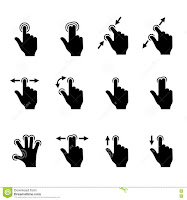 Gestos en pantallas táctiles que implican uno o varios dedos.