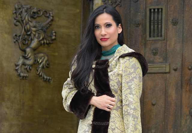 yellow gold and brown faux fur coat foral cloak Joanna Joy A Stylish Love Story Fashion Blog Petite Blogger cosplay medieval green dress