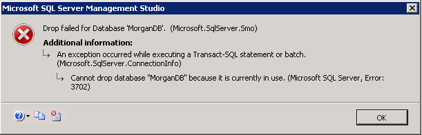 Cannot drop database because it is currently in use in MS SQL Server