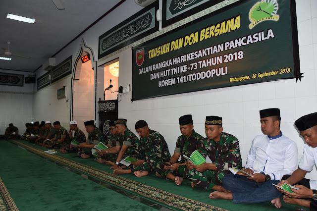 Jelang Hari Kesaktian Pancasila dan HUT TNI, Korem 141/Tp Laksanakan Tausiah dan Doa Bersama