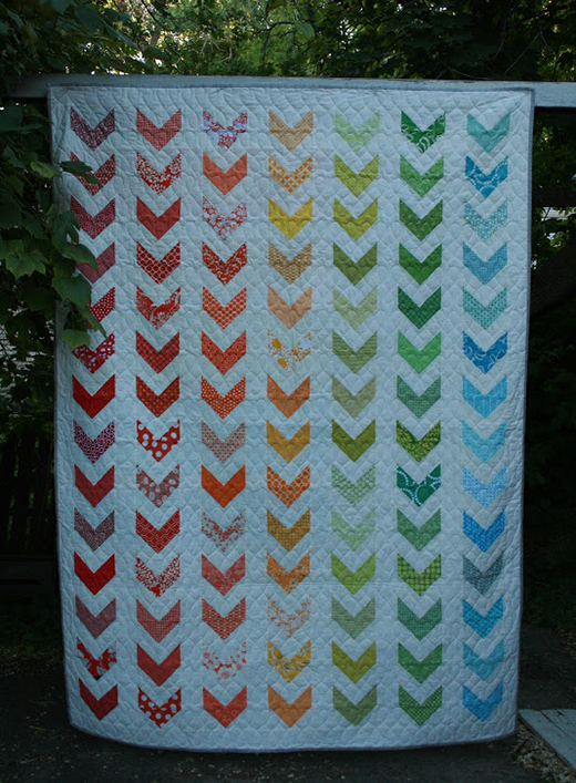 Rainbow Chevron Twin Bed Quilt Free Tutorial Designed by Leigh from Leedle Deedle Quilts