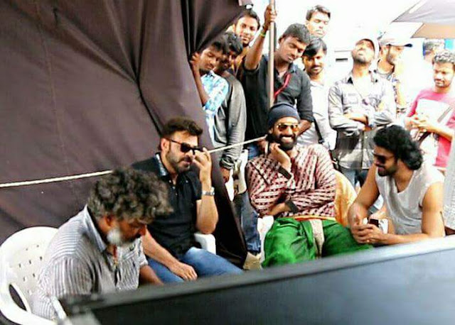 Venkatesh on the sets of baahubali