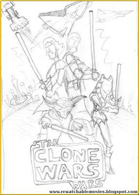 Star Wars: The Clone Wars hand pencil poster.