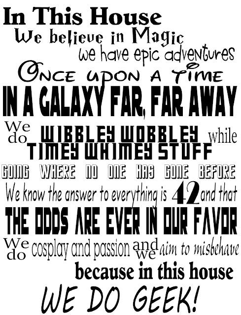 Show your love of all things Geek fandom with this free printable sign. You'll be able to embrace Doctor Who, Harry Potter, Star Wars, Hunger Games, and so much more with this fun printable We Do Geek sign.