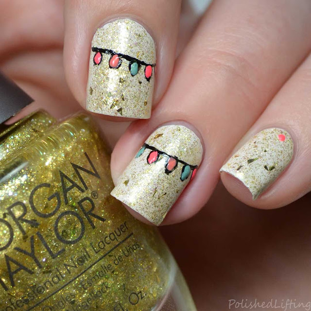 holiday light nail art