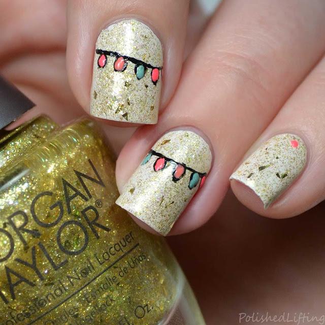 holiday light nail art