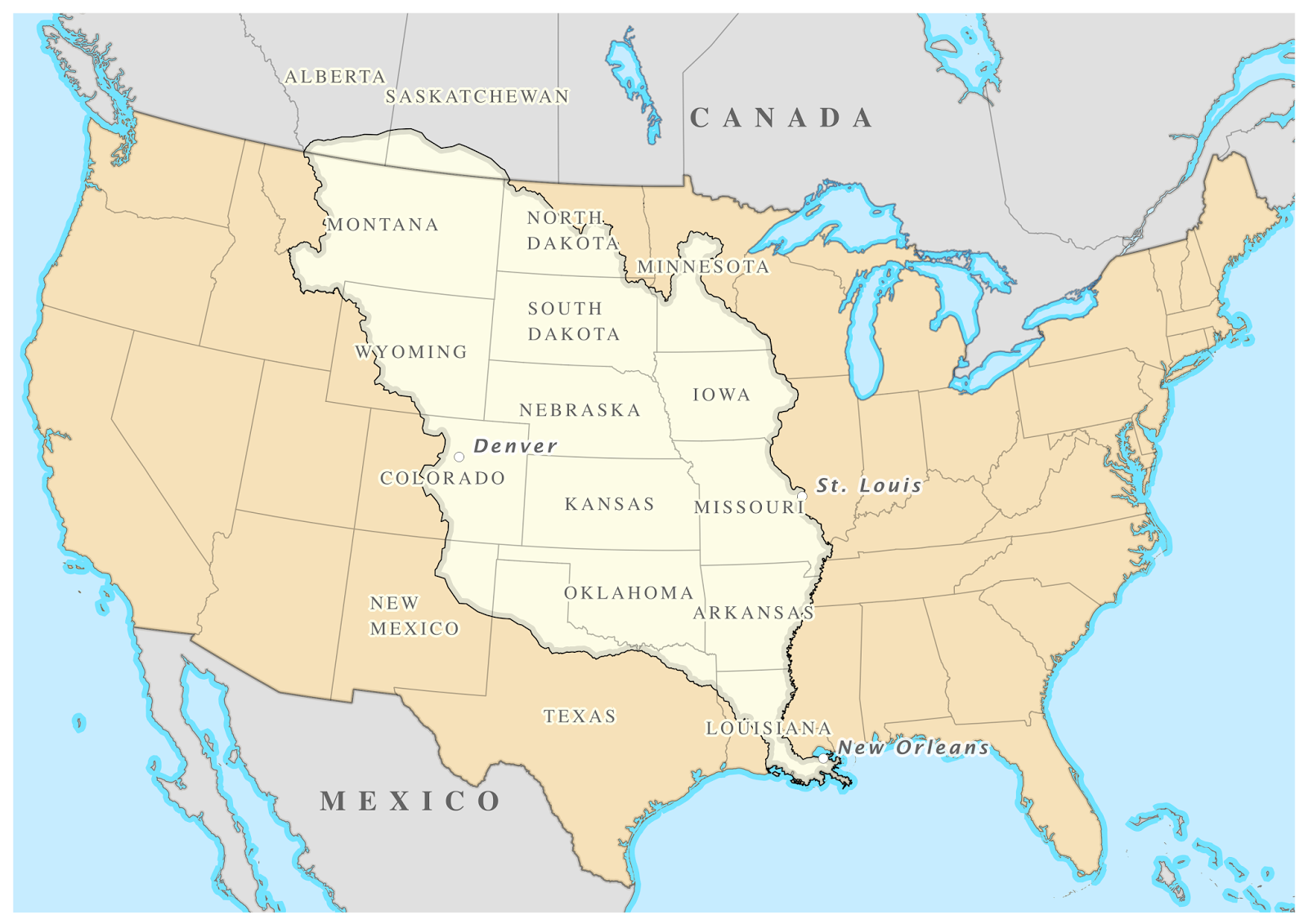 united states map louisiana purchase highlighted