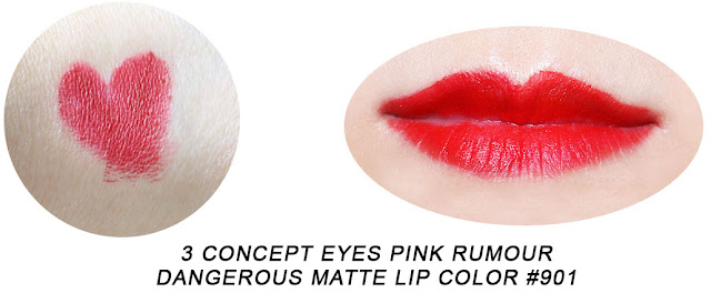 3 Concept Eyes Pink Rumour Dangerous Matte Lip Color #901