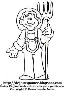Imagen de un Campesino para colorear pintar imprimir, hecha para niños (Campesino hombre con su rastrillo). Dibujo hecho por Jesus Gómez