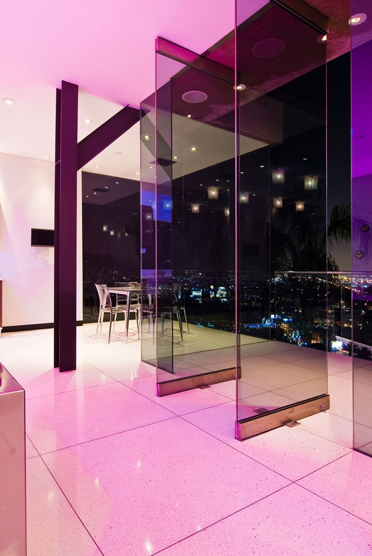 Glass doors in Hollywood Mansion by Whipple Russell Architects
