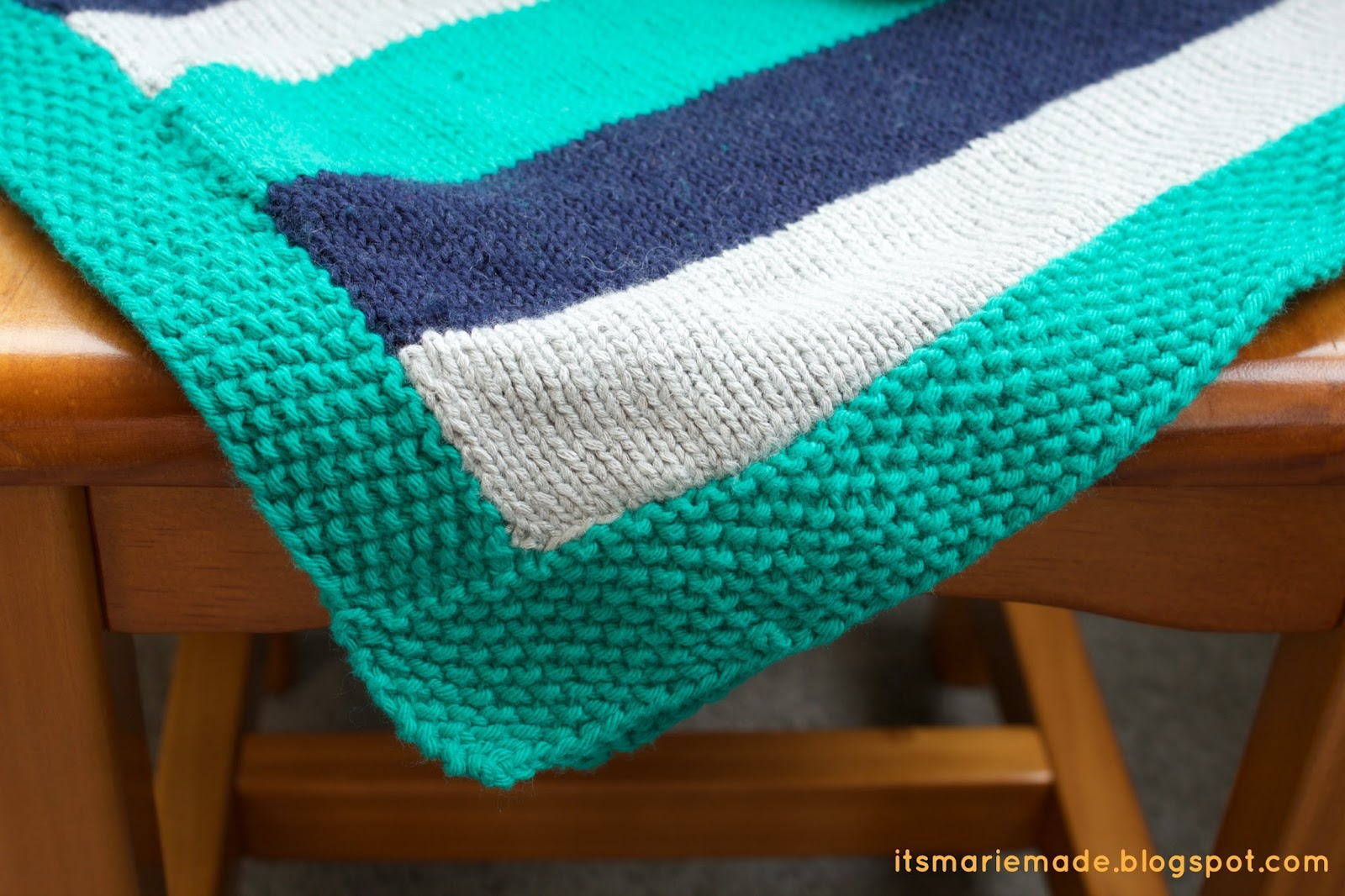 Knit Purl Stitch Alternating : Its Marie Made!: Finished Projects: Easy Striped Baby Blanket