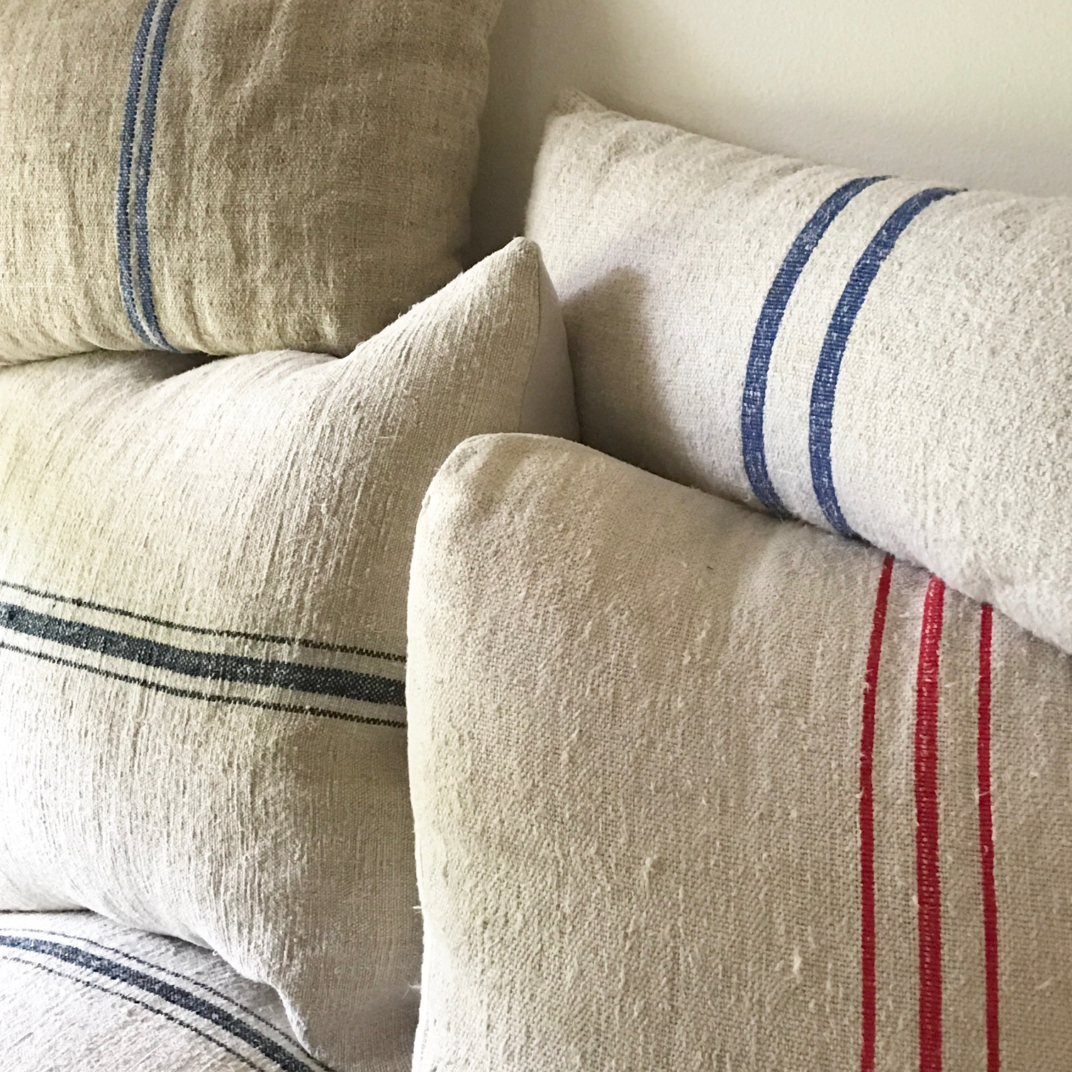 How To Make Affordable Grain Sack Pillows Sew And No Options If You Re Not Up For Making Them Yourself Where Can A Beautiful