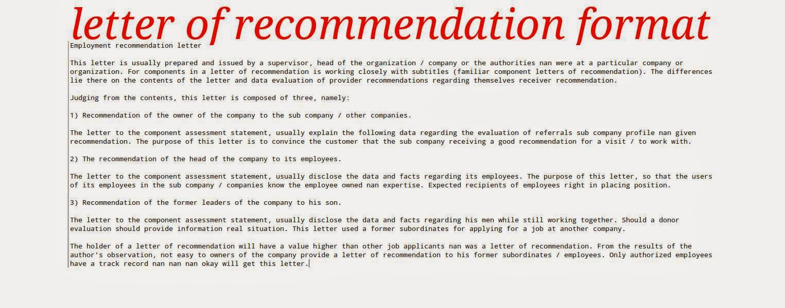 Letter Of Recommendation: Letter Of Recommendation Format