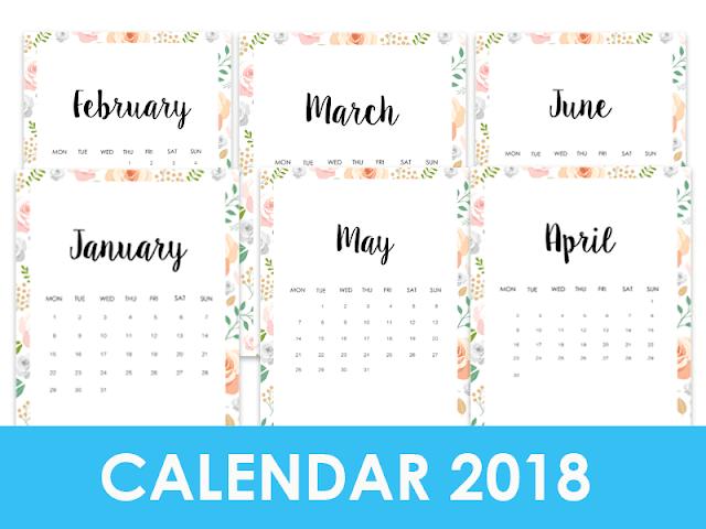 Download now - 2018 Calendar Printable Kits