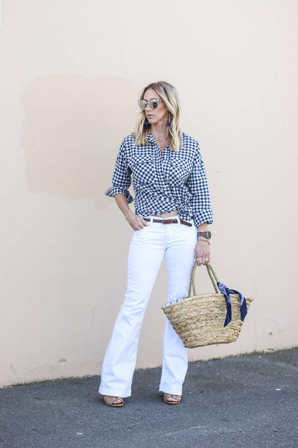 classic navy and white gingham top spring outfit idea
