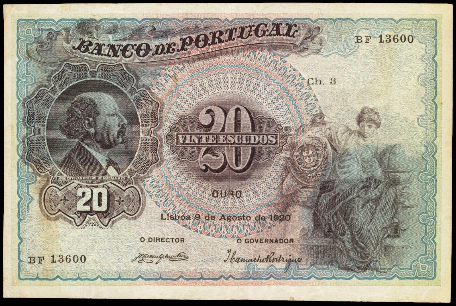 Portugal 20 Escudos banknote 1920 Jose Estevao