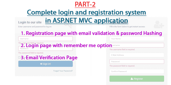 Part 2 - Complete login and registration system in ASP.NET MVC application
