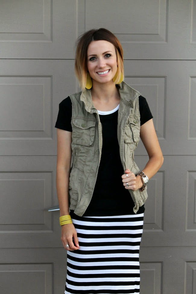 Cargo vest, striped midi skirt and wedges