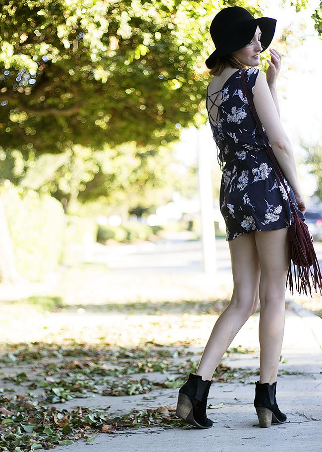 Billabong Floral Romper, Sole Society Booties, Wide Brim Hat, Target Suede Bag