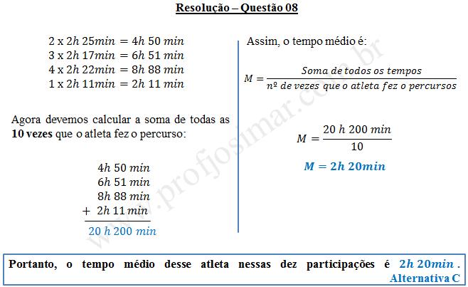 Questão 08 - Sistema de medidas usuais