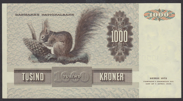 World paper money DKK Danish Krone banknotes notes bill