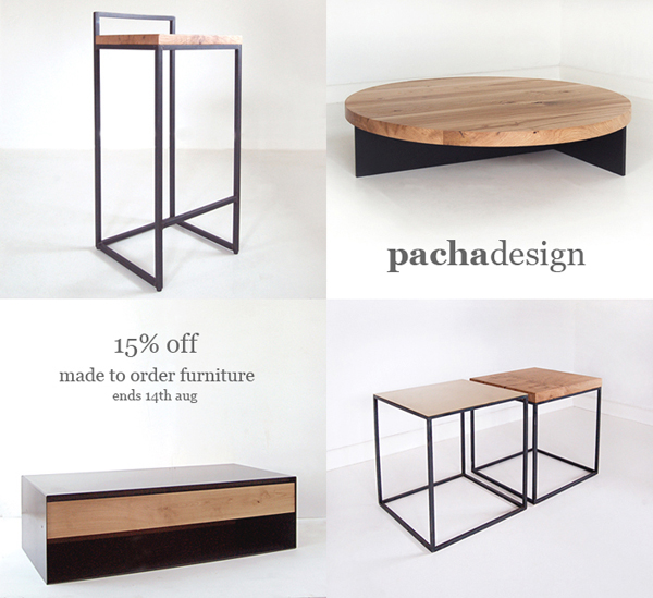 new work + 15% off made to order furniture