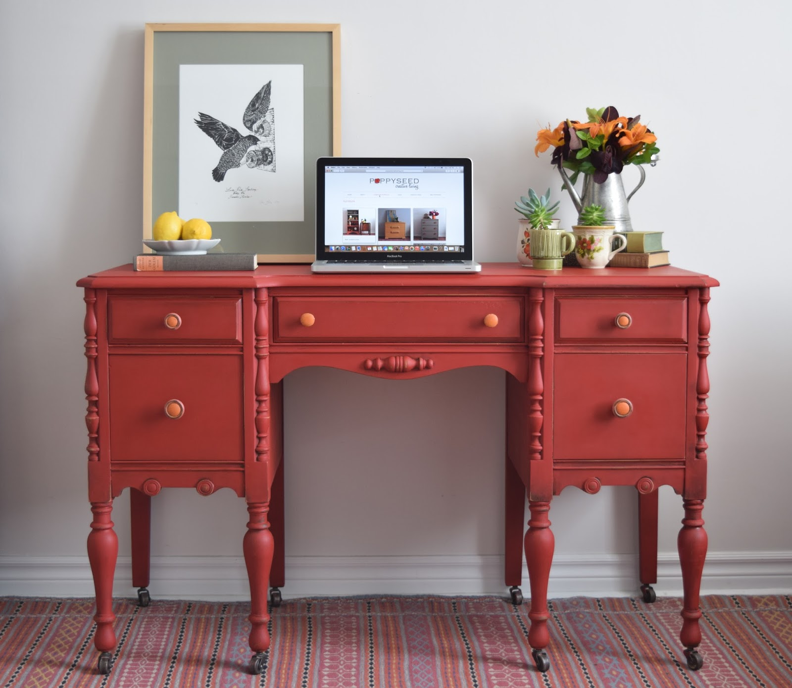 Red Desk Vanity Painted With Annie Sloan Chalk Paint