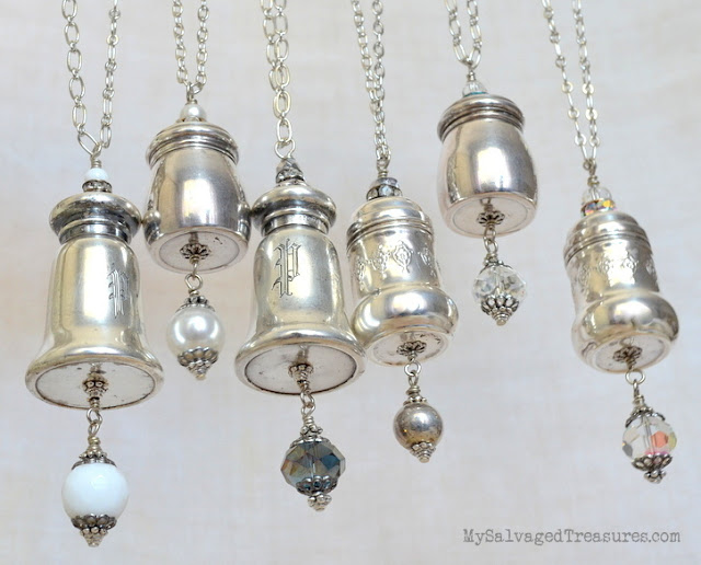 vintage sterling repurposed salt and pepper shaker necklaces